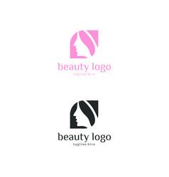 Beauty salon logo woman face and hair logo vector