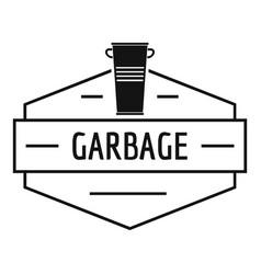 bin garbage logo simple black style vector image