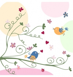 bird and flowers vector image