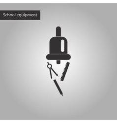 Black and white style icon of bell pencil ruler vector