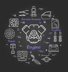 black linear banner of car engine vector image