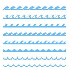 blue wave sea seamless pattern marine element vector image