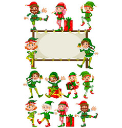 border template with christmas elves vector image