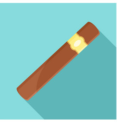 Brown cigar of cuba icon flat style vector