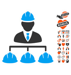 Builder management icon with love bonus vector