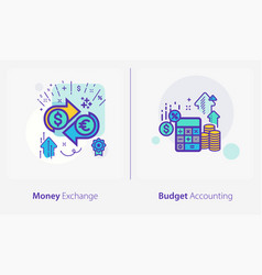 business and finance concept icons money exchange vector image