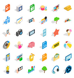 Camera icons set isometric style vector