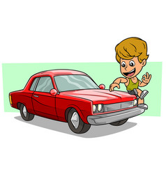 cartoon boy character on red american retro car vector image