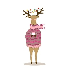 Christmas deer Happy New Year Reindeer vector image