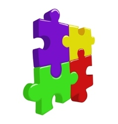 Color 3D puzzle pieces vector
