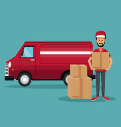 color background with man worker with packages and vector image