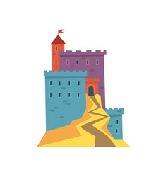 Colorful ancient fortress red heraldic flag on vector