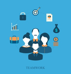 Concept of teamwork of business people leading vector
