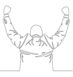 continuous line cheering happy businessman vector image