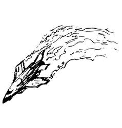 Crashing plane ink vector