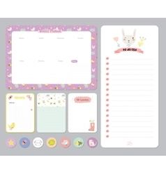 Cute calendar daily and weekly planner vector