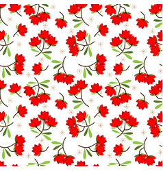 cute flower with leaves seamless pattern vector image