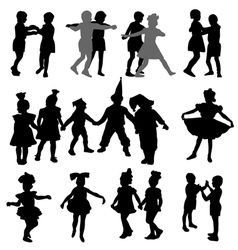 Dancing children silhouettes vector
