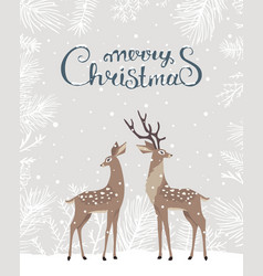Deer christmas card vector