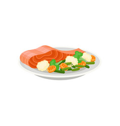 delicious salmon fish with fresh vegetables on vector image