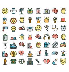 Depression icons set flat vector