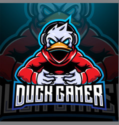 Duck gamer esport mascot logo design vector