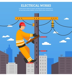 Electrical works flat vector