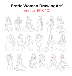 Erotic womanbody nude line drawingart design vec vector