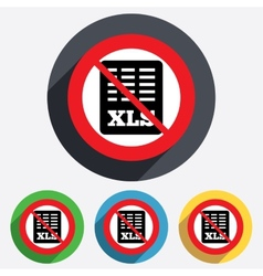 Excel file document icon No Download xls button vector