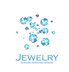 falling diamonds gems shining jewelry background vector image