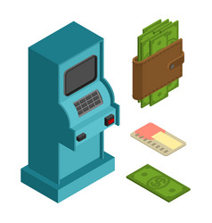 Financial icon set atm and cash money wallet and vector