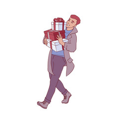 flat man with present gift boxes vector image