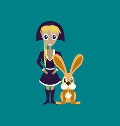 Flat on background of christmas girl rabbit vector
