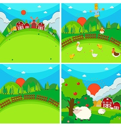 Four scenes of farmland with barn and animals vector