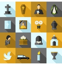 Funeral Icons Flat Set vector