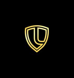 Gold shield logo design for letter l realistic vector