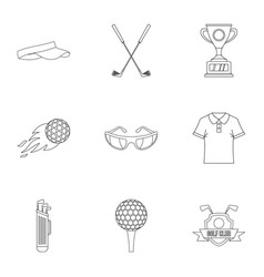 Golf things icons set outline style vector