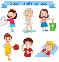 good habits collection for kids vector image
