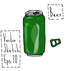 Green beer can and key doodle sketch bar vector