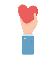 hand holding heart love charity and donation vector image
