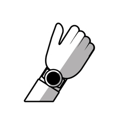 hand with smart watch wearable technology shadow vector image