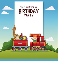 Happy birthday card with kids on train vector