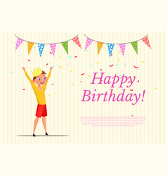 Happy birthday web banner template with lettering vector