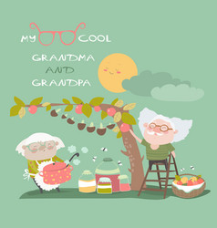 Happy grandparents farming vector