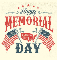 Happy memorial day vintage greeting card vector