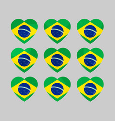 Heart icons with the flag of brazil i love vector