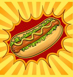 Hot dog pop art vector