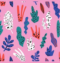 houseplants flat hand drawn seamless pattern vector image