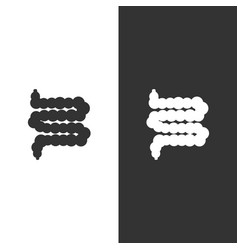 Human organ intestine icon on black and white vector