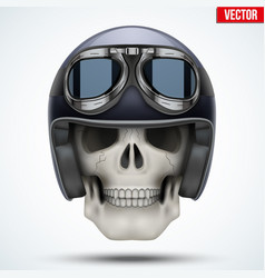 human skull with retro chopper helmet vector image